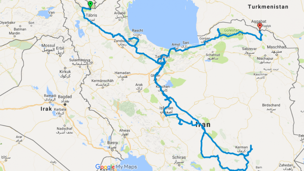 Motorbike Route Iran