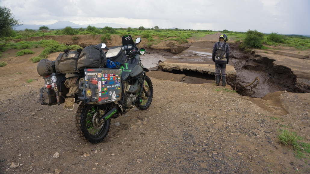 The road to lake Natron is mostly destroyed